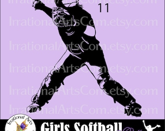 Vinyl Ready Softball Women Catcher pose 11 INSTANT DOWNLOaD digital clipart graphics 1 png and 1 EPS and 1 SVG files baseball