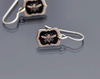 Tiny Sterling Silver Framed Honey Bee Earrings