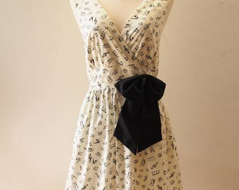 Music Dress Vintage Style Sundress Concert Retro Party Dress White Cotton Dress Holiday Summer Dress Wrap Dress Christmas Gift