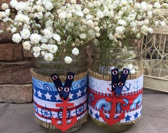 Mason Jar Wraps, Set of TWO, Red Anchor, Natutical, Ocean, Beach, Sailing, Mason Jar Decoration, Baby Shower, Party, Wedding Decoration