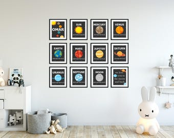 Planet Prints - Solar System Wall Art - Planet Art - Personalized Planet Prints - Outer Space - Planet Decor - Outer Space Decor - Set of 12
