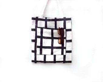 Large tote bag with pockets, Sac, Teacher tote bag, Black and white cotton bag, Shoulder bag, Man tote bag, Market bag, Shopping bag