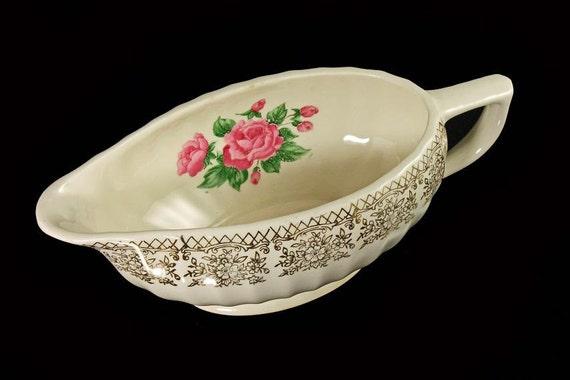 Gravy Boat, Sebring Pottery, China Bouquet, Pink Roses, Gold Filigree Trim