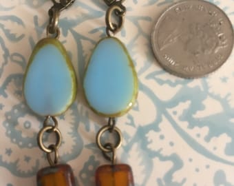 Vintage Style Opaque Pale Blue and topaz picasso czech glass dangly earrings