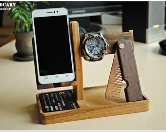 Fathers day gift wood docking station iphone dock men desk organizer iphone stand men nightstand desk organizer charging station for dad