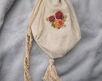 hand embroidered Reproduction 1840's Regency Jane Austen Reticule Purse Linen Crochet Lace Roses