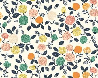 Hidden Garden Roses Cream Organic Cotton Fabric, Climbing Rose Fabric