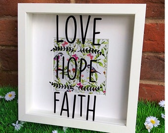 Love Hope Faith Shadow Box Frame