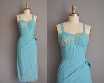 vintage 1950s dress/50s  sea form blue cotton dress/ 50s Hawaiian dress