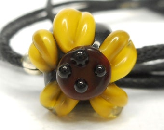 Sunflower - Yellow, Black and Brown Lampwork Cotton Corded Necklace