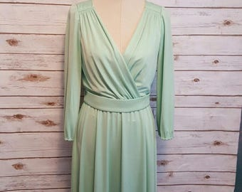 Vintage, 70's, Lilli Diamond sea-foam green Disco queen maxi dress, Medium