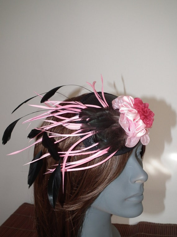 hat WISH hat fascinator cocktail birthday raceday hat RUNWAY hat designer wedding event races black graduation for pink pink hattinator hat aw0qCd
