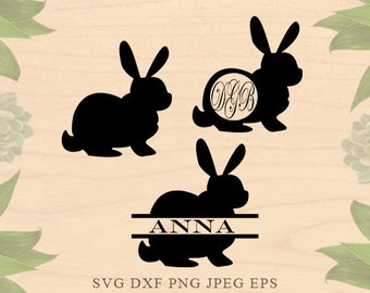 Rabbit monogram svg Easter svg Easter monogram svg Rabbit Svg Cut Files Easter Dxf Eps Cricut files for Silhouette files Cricut Downloads