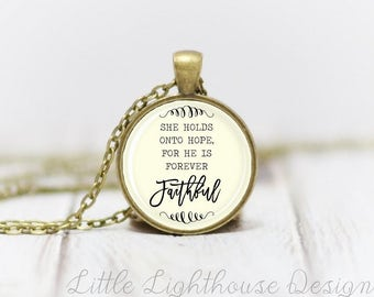 Medium He Is Faithful Necklace Quote Necklace Quote Pendant Verse Necklace Christian Pendant Christian Jewelry Gift