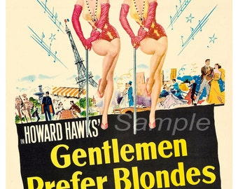Vintage Gentlemen Prefer Blondes Marilyn Monroe Poster Print