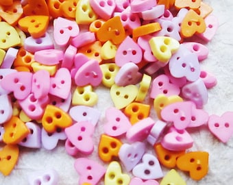Tiny 2 hole heart  button - 6 mm.  100 pcs assorted colors for making Barbie, Blythe and dolls clothes SET7