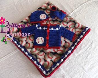 Baby Boy Blanket Baseball Baby Boy Sweater Baby Boy Baseball Blanket Baseball Fleece Blanket Crochet Baby Boy Blanket Crochet Baby Sweater