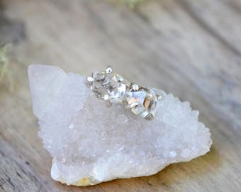 herkimer diamond stud earrings  /// raw herkimer diamond studs in sterling silver or 14k gold-fill ///  SMALL (3-4mm) or LARGE (7-9mm)