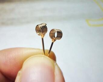 Spring cord Stud Earrings, Coil Spring Earrings
