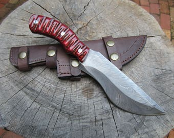 """Damascus Steel Knife 11"""" with Feather Damascus Blade and Red Dymondwood Handle"""
