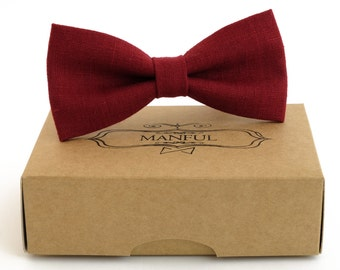 Burgundy Red  bow tie, wedding necktie, linen necktie,  groomsmen necktie,  red necktie, red bow tie for men