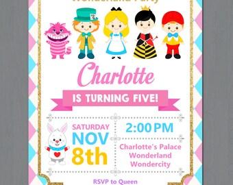 Alice in Wonderland Invitation, Alice Wonderland invitation, Alice in Wonderland Birthday Invitation, ALice in Onederland