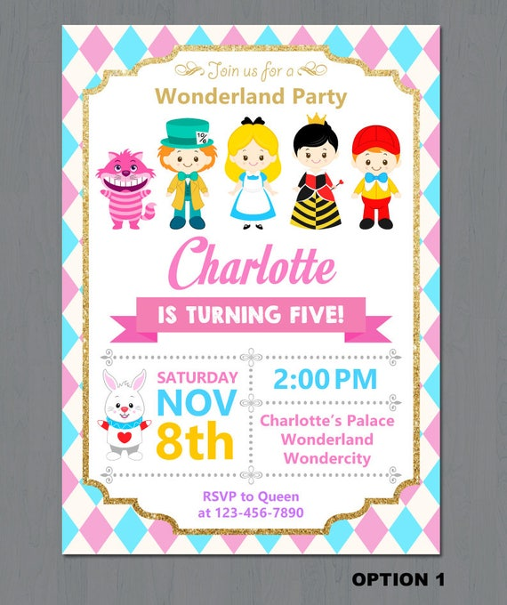 Alice in Wonderland Invitation Alice Wonderland invitation
