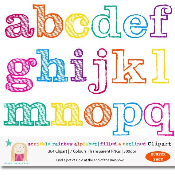Download SALE Rainbow Alphabet Clipart BUMPER PACK Scribble Letter