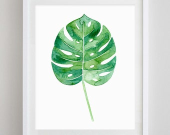 Philodendron Leaf Tropical Botanical Watercolor Print