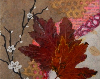 Abstract  Collage, Leaves, Mixed Media Leaf Collage, Original, Small , 6x6 stretched canvas