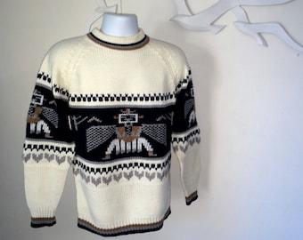THUNDERBIRD Men's Vintage 70s Southwestern Sweater Native American Indian Aztec Navajo 1970s Ski Sweater Stoner Hippie sweater Size Medium