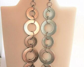 Dangle Earrings, Drop Earrings, Minimalist Jewelry, Industrial Jewelry, Industrial Earrings, Washers, Earrings, Steel Jewelry, Hardware