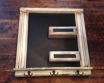 Square chalkboard Framed mail organizer Shabby chic Chalk ledge Key hooks