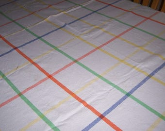 Large heavy vintage striped tablecloth
