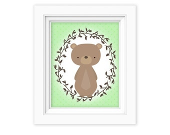 Printable Wall Art, Woodland bear art, Baby Boy baby girl Nursery decor, Gender Neutral Nursery art, Baby Girl Woodland Nursery Print
