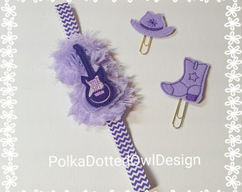 Guitar Purple baby headband, Rock and Roll birthday, Country Music,Music Lover, Rocker Chick,Cake smash,Cowgirl birthday party,planner band