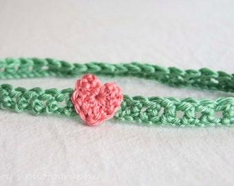 Sage Green heart headband,Crochet strawberry pink Heart Headband, Cute Thin Crochet Headband, Available Sizes from Newborn to 24 months,