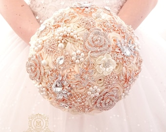 Champagne rose gold BROOCH BOUQUET. Blush pink, Ivory, beige, cream broach boquet. Jeweled crystal flowers weding bridal bouquet by Memory