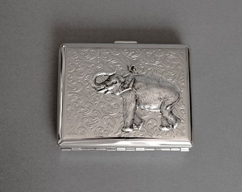 Elephant Cigarette Case Elephant Business Card Case Metal Wallet Africa Elephant Steampunk Style Safari Animal Silver Cigarette Case