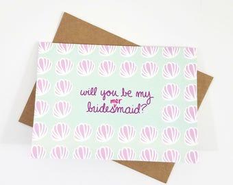 Mermaid Bridal Party Proposal Card | Blank 5x7 Greeting Card | Bridal Party | Bridesmaids