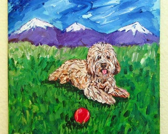 Cockapoo Art, Cockapoo Gifts, Original Painting on Canvas, Golden Doodle Art, Cockapoo Wall Decor, Spoodle Art, Dog and Ball Themed Wall Art