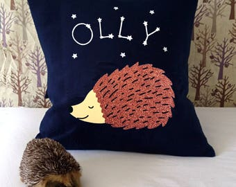 Sleeping hedgehog personalised cushion - wildlife nursery decor - scandi nursery - animal cushion - gift for nature lover - constellation