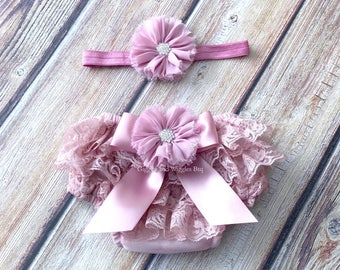 Baby girl clothes, mauve rose lace bloomer, baby girl headband, infant girl diaper cover, newborn girl bloomer, 1st birthday, easter outfit