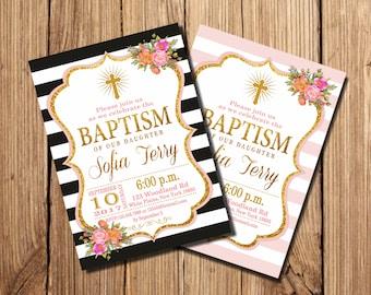 GIRL BAPTISM INVITATION, Pink Baptism Invitation, Pink Gold Angel Baptism Invitation, Baptism invitation, Floral, printable