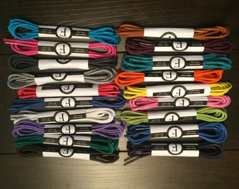 3 Pairs of Waxed Colored Round Oxford Dress Shoelaces - Choose from Over 20 Colors of Shoe Laces