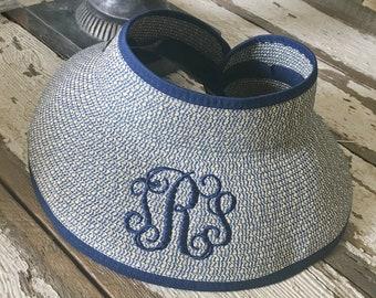 Visor/Beach Hat/NAVY Beach Visor with Monogram