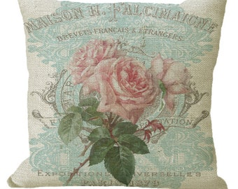 Pink Faded French Roses on Aqua in Choice of 14x14 16x16 18x18 20x20 22x22 24x24 26x26 inch Pillow Cover
