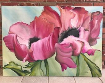 Poppies       34 x 48      Original Watercolor Batik