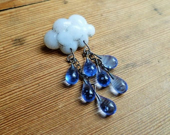 Raincloud brooch, cloud pin, lampwork weather brooch, glass rain cloud brooch.