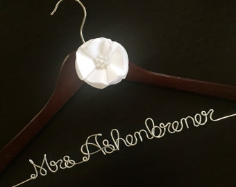 Wedding dress hanger with flower, mrs. hanger, bridal shower gift